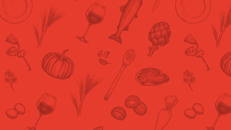 Illustrationsmuster Lebensmittel und Kochutensilien